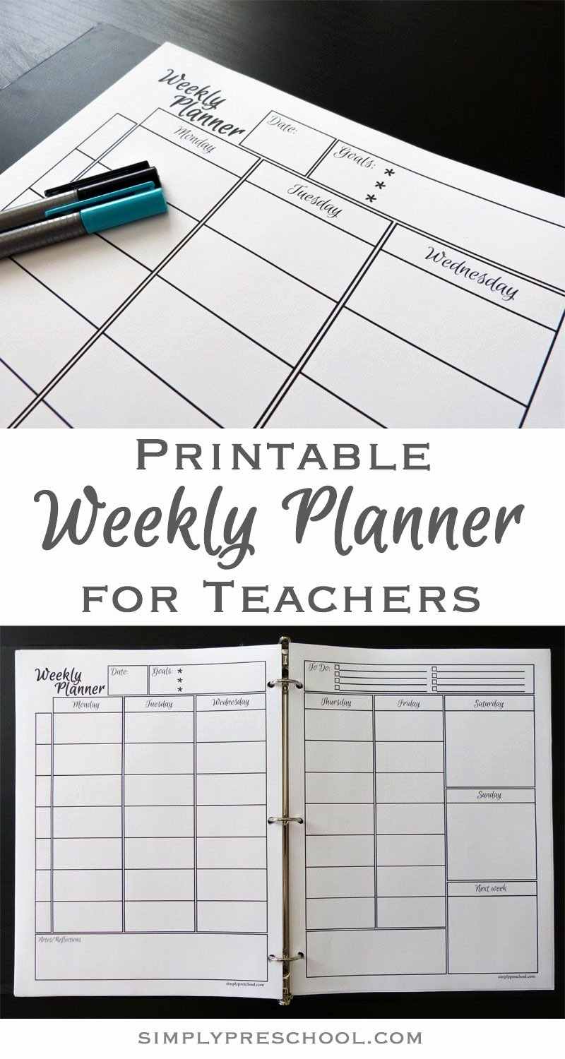 Teacher Weekly Planner Template Unique Printable Weekly Lesson Planner – Simply Preschool