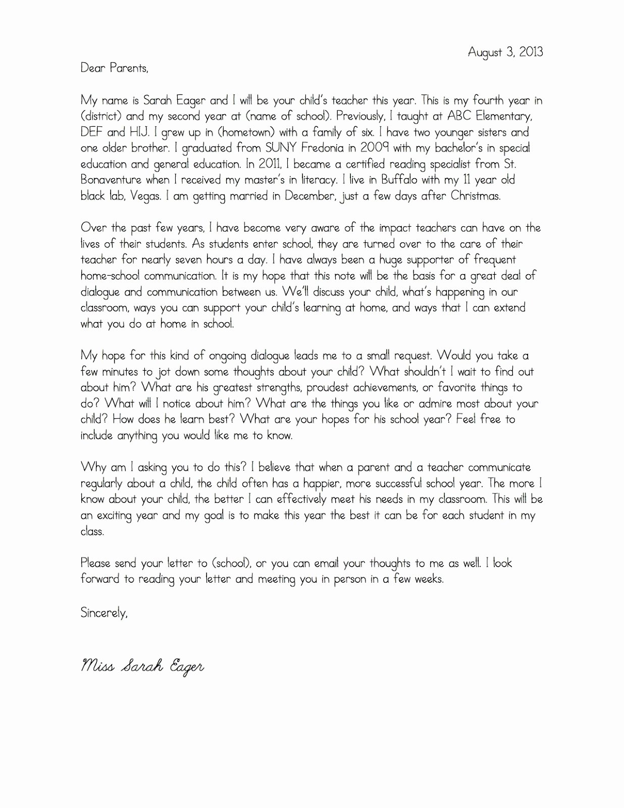 Teacher Welcome Letter Template Beautiful Teacher Wel E Letter to Parents Template Samples