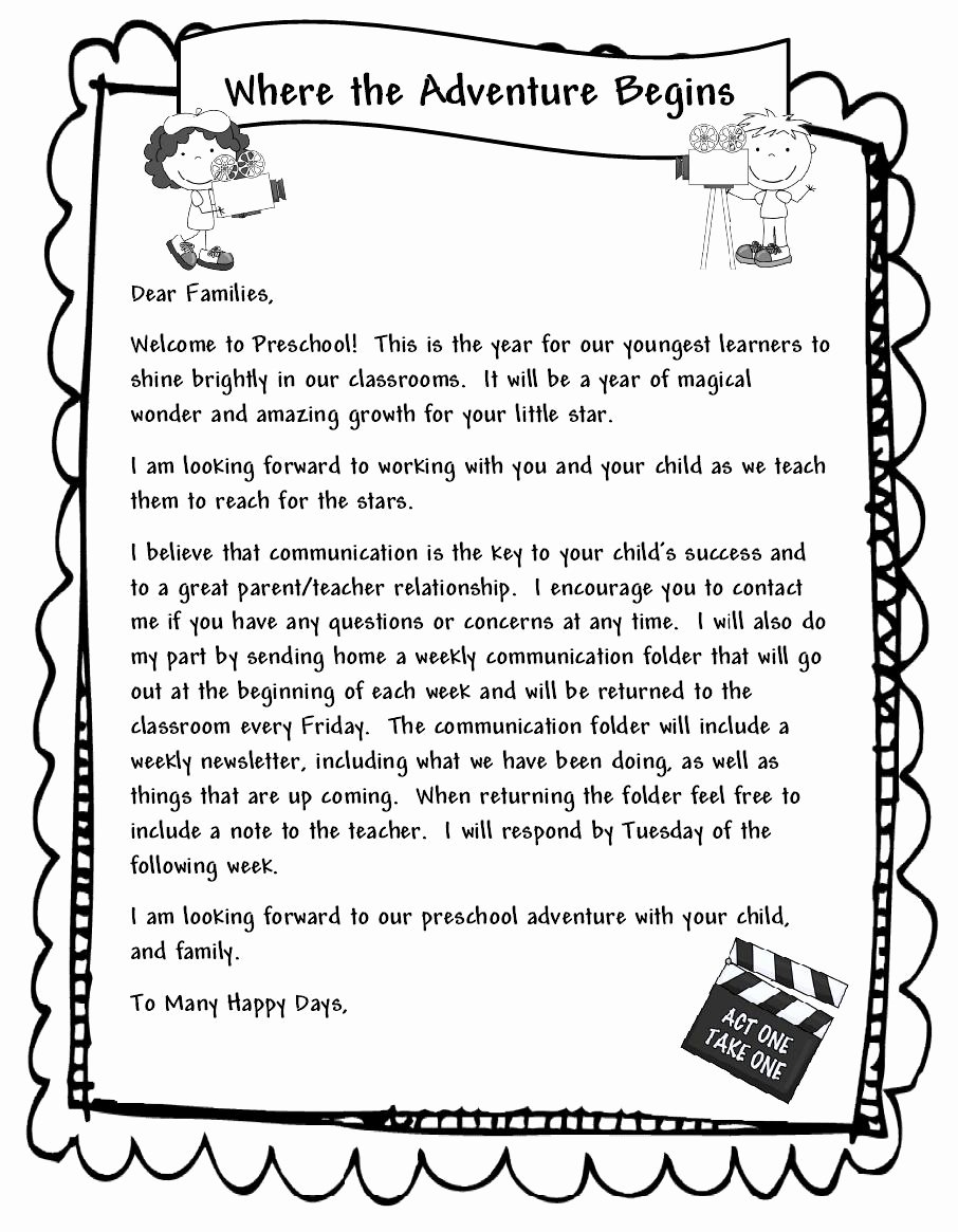 Teacher Welcome Letter Template Fresh Learning and Teaching with Preschoolers Wel E Parents