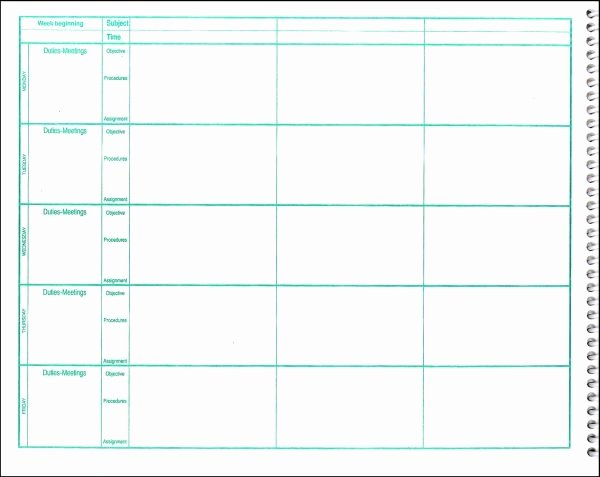 Teachers Planning Book Template Inspirational Free Lesson Plan Book Template