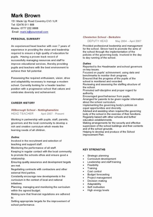 Teaching Curriculum Vitae Template Elegant Head Teacher Cv Sample Curriculum Vitae Teaching Cv Job