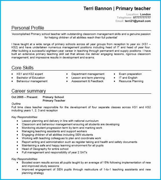 Teaching Curriculum Vitae Template Inspirational Teacher Cv Examples Writing Guide and Cv Template