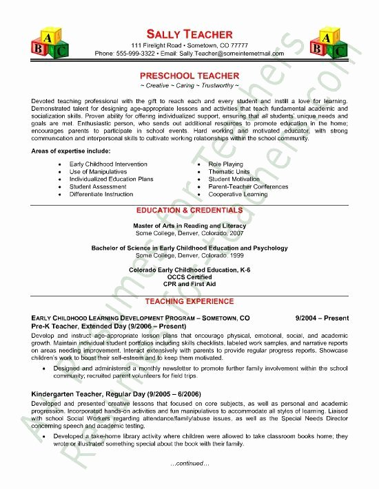 Teaching Curriculum Vitae Template Lovely Preschool Teacher Resume Sample