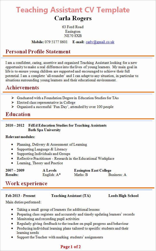 Teaching Curriculum Vitae Template Lovely Teaching assistant Cv Example
