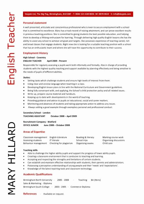 Teaching Curriculum Vitae Template New English Resume F Resume
