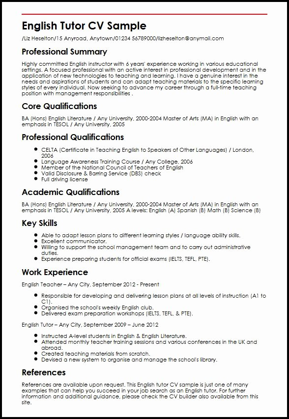 Teaching Curriculum Vitae Template New English Tutor Cv Sample