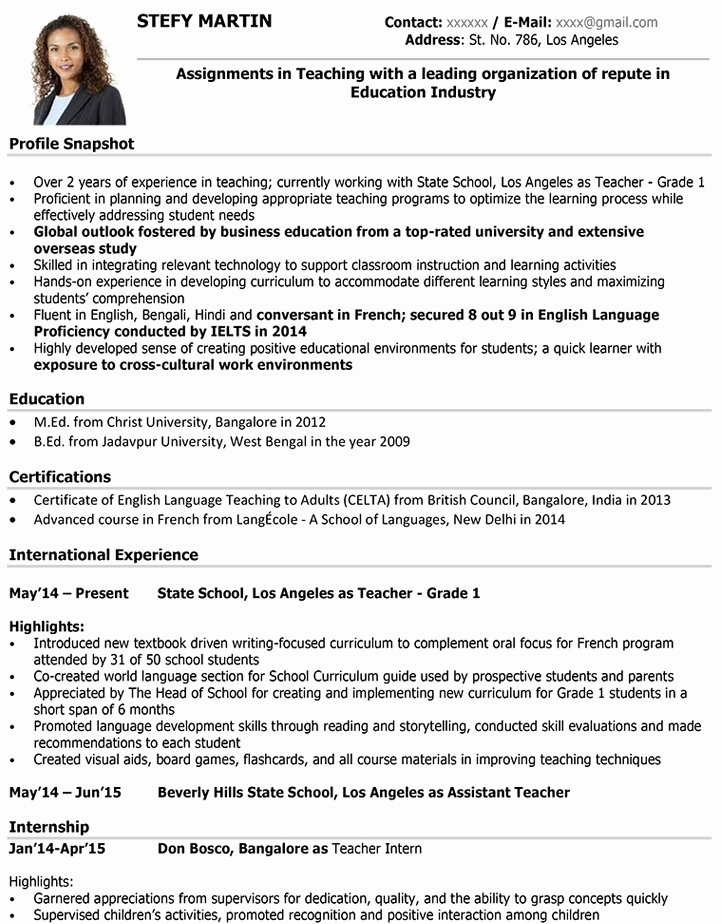 Teaching Curriculum Vitae Template Unique Teacher Cv format – Teacher Resume Sample and Template