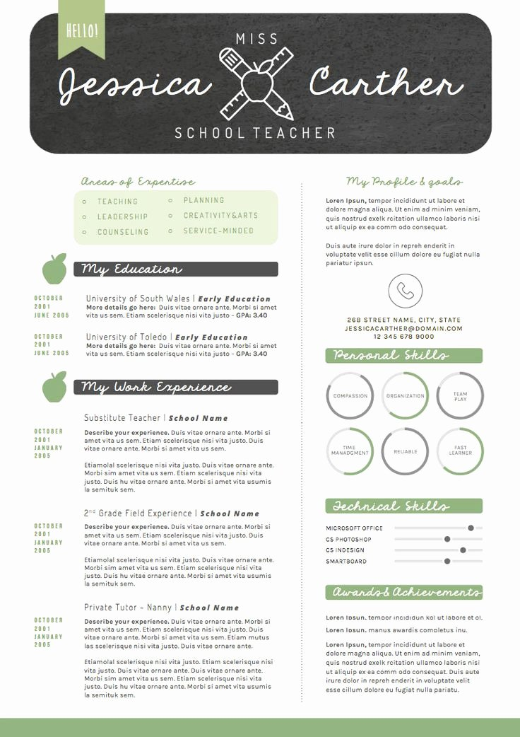 Teaching Resume Template Free Best Of Resume Template Cv Template Cover Letter for Word 4
