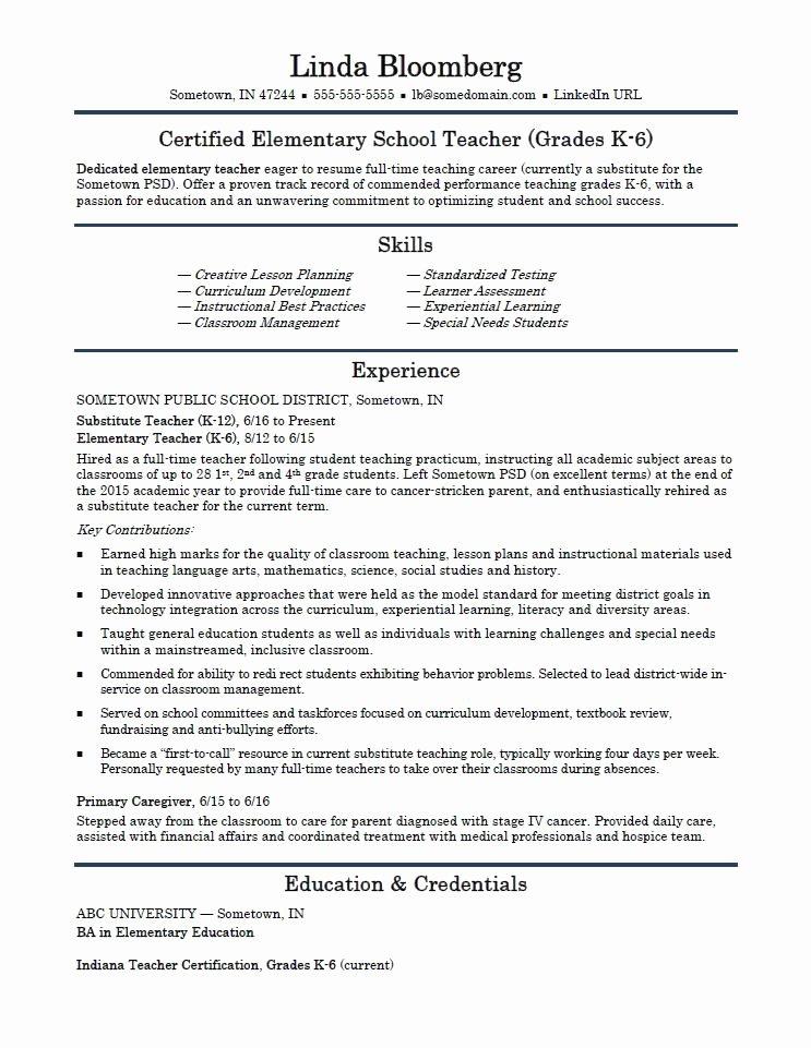 Teaching Resume Template Free Elegant Elementary School Teacher Resume Template