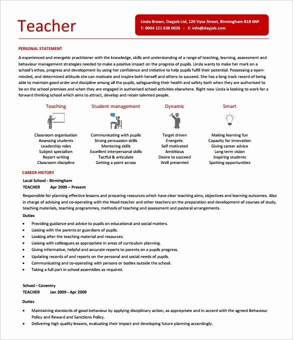 Teaching Resume Template Free Fresh 50 Teacher Resume Templates Pdf Doc