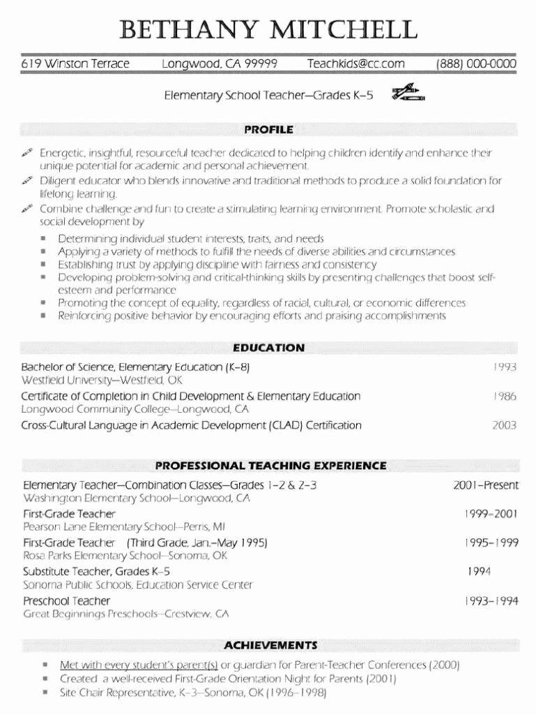 Teaching Resume Template Free Fresh Elementary Teacher Resume Examples … Resume