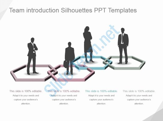 Team Introduction Ppt Template Beautiful Style Variety 1 Silhouettes 4 Piece Powerpoint