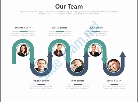Team Introduction Ppt Template Unique Six Staged Business Team Flow Chart Powerpoint Slides