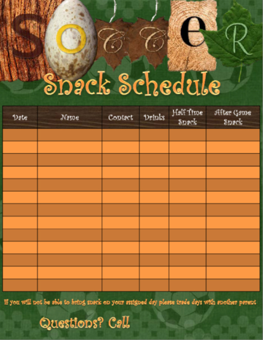 Team Snack Schedule Template Beautiful This is A Template to Use for soccer Snack Scheduling the
