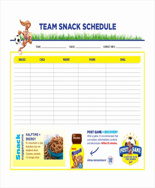 Team Snack Schedule Template Fresh Snack Schedule Template 7 Free Word Excel Pdf