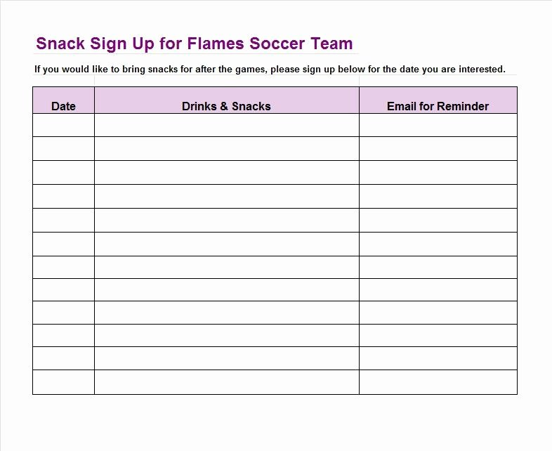 Team Snack Schedule Template Inspirational Sign Up Sheet Template 22 soccer Snack