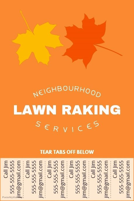 Tear Off Flyer Template Beautiful Lawn Raking Poster with Tear Off Tabs Template