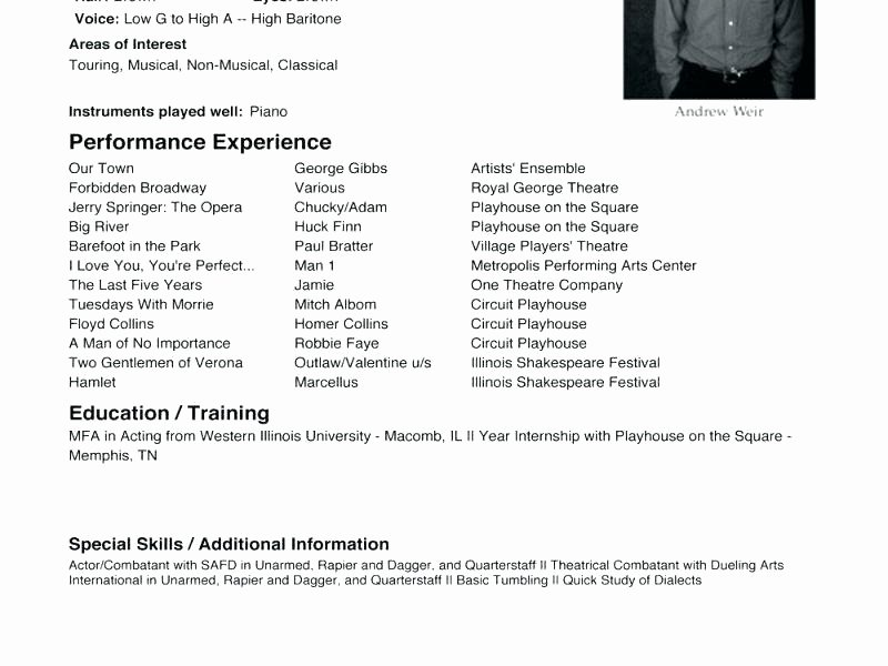 modern actor resume example technical theatre portfolio template
