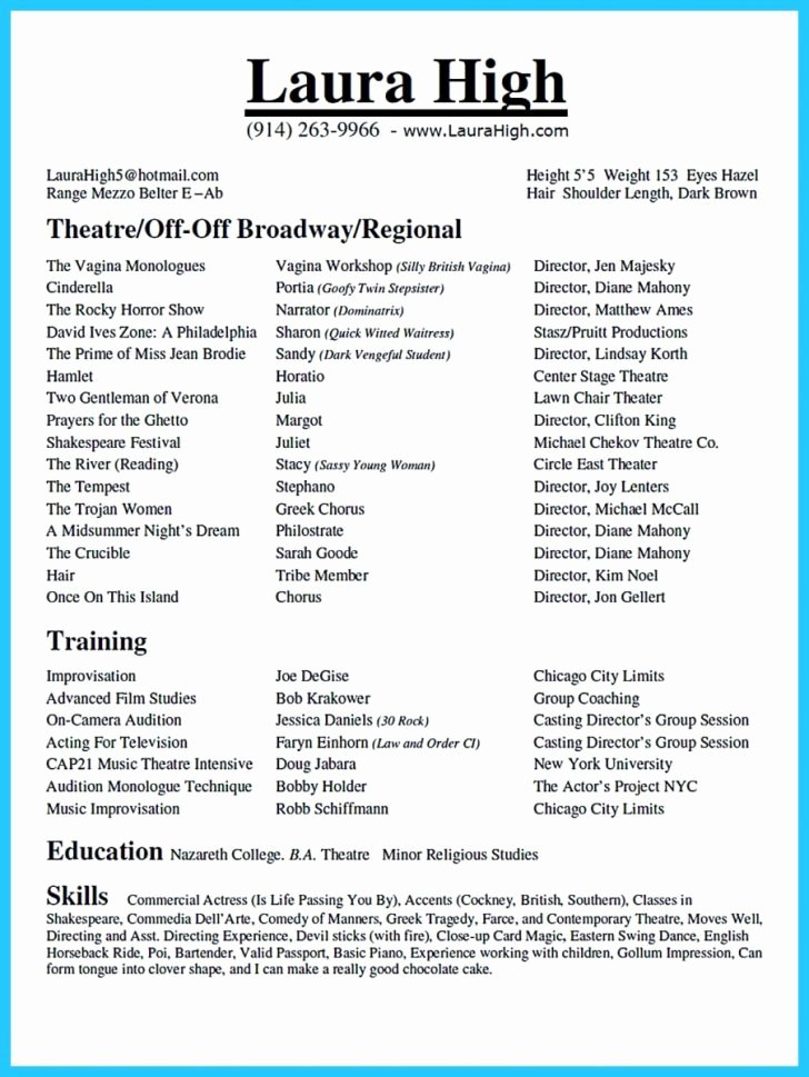 Tech theatre Resume Template Beautiful Resume and Template Musical theatre Resume Template Word
