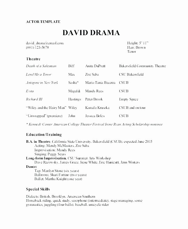 Tech theatre Resume Template Best Of theatre Resume Template Word Impressive Musical Technical