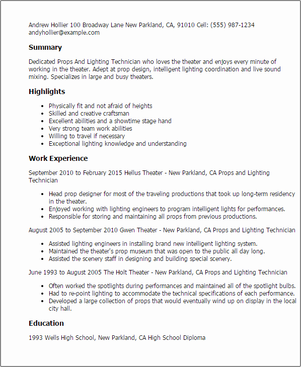 Tech theatre Resume Template Elegant Props and Lighting Technician Resume Template — Best