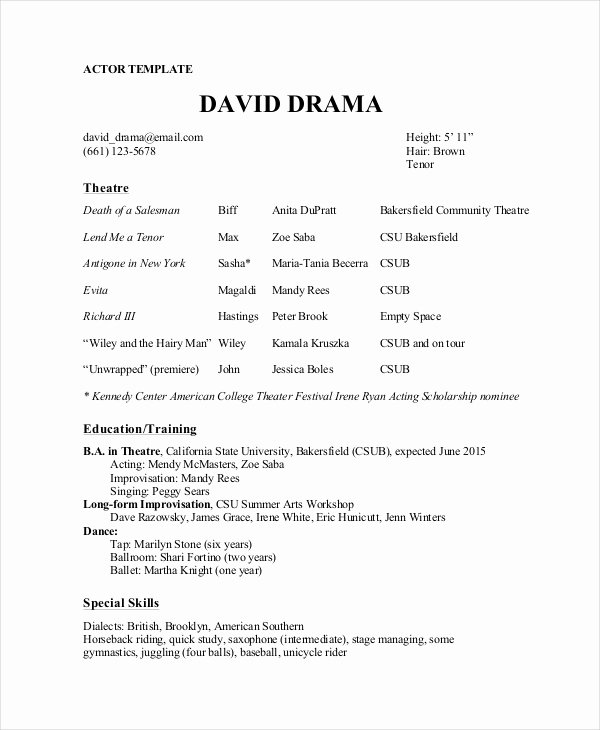 Tech theatre Resume Template Elegant theater Resume Template 6 Free Word Pdf Documents
