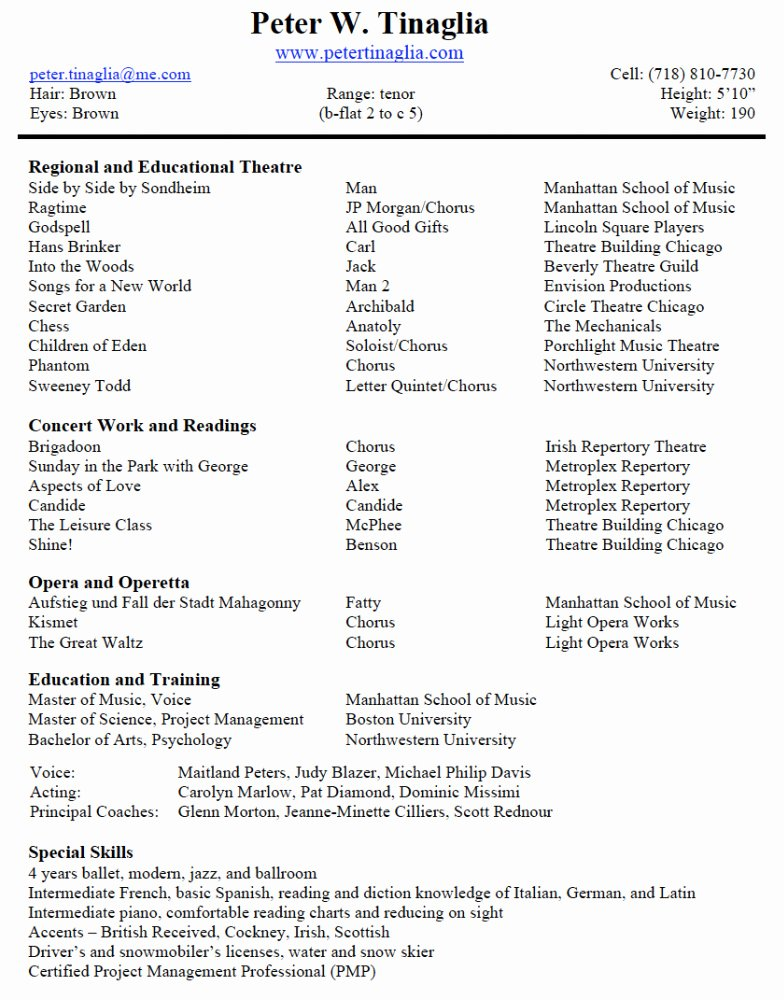 Tech theatre Resume Template Fresh theatre Resume Template