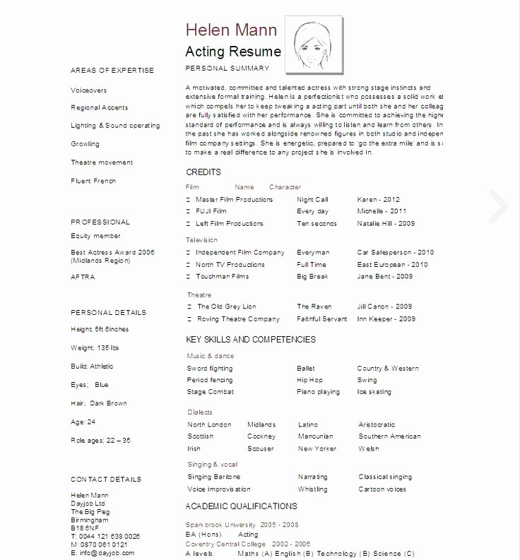 Tech theatre Resume Template Inspirational Resume Template for Actors – Wlcolombia