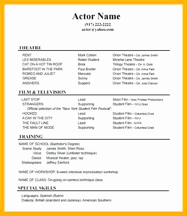 Tech theatre Resume Template Inspirational theatre Resume Example Acting Resume Example theatre