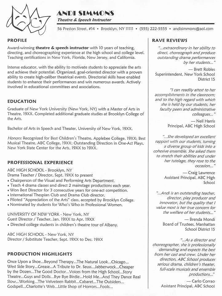 Tech theatre Resume Template Lovely theatrical Resume format