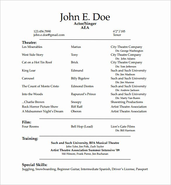 Tech theatre Resume Template Luxury Acting Resume Template 7 Free Word Excel Pdf format