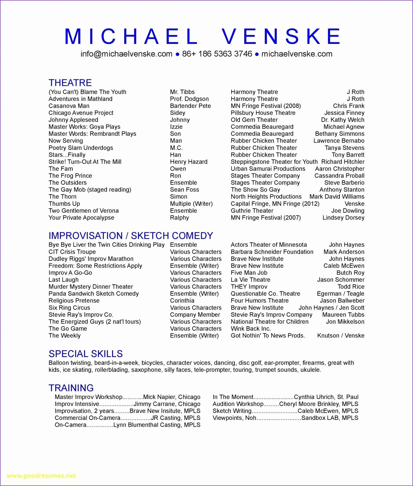 Technical theatre Resume Template Elegant Technical theatre Resumes Tech theatre Resume Template