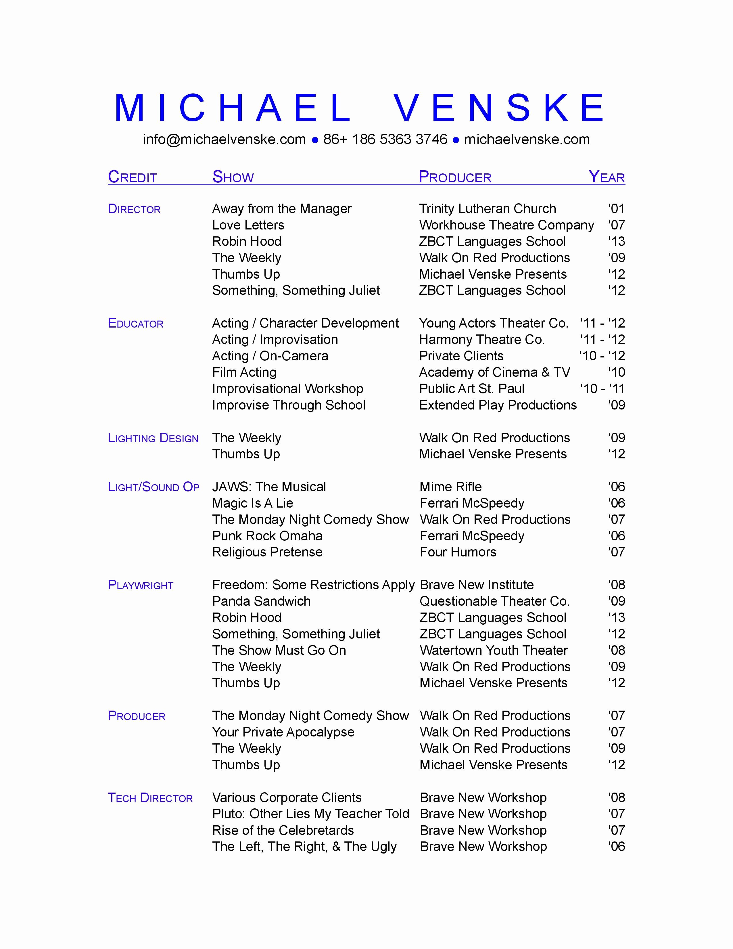 Technical theatre Resume Template Fresh theatre Resume Template