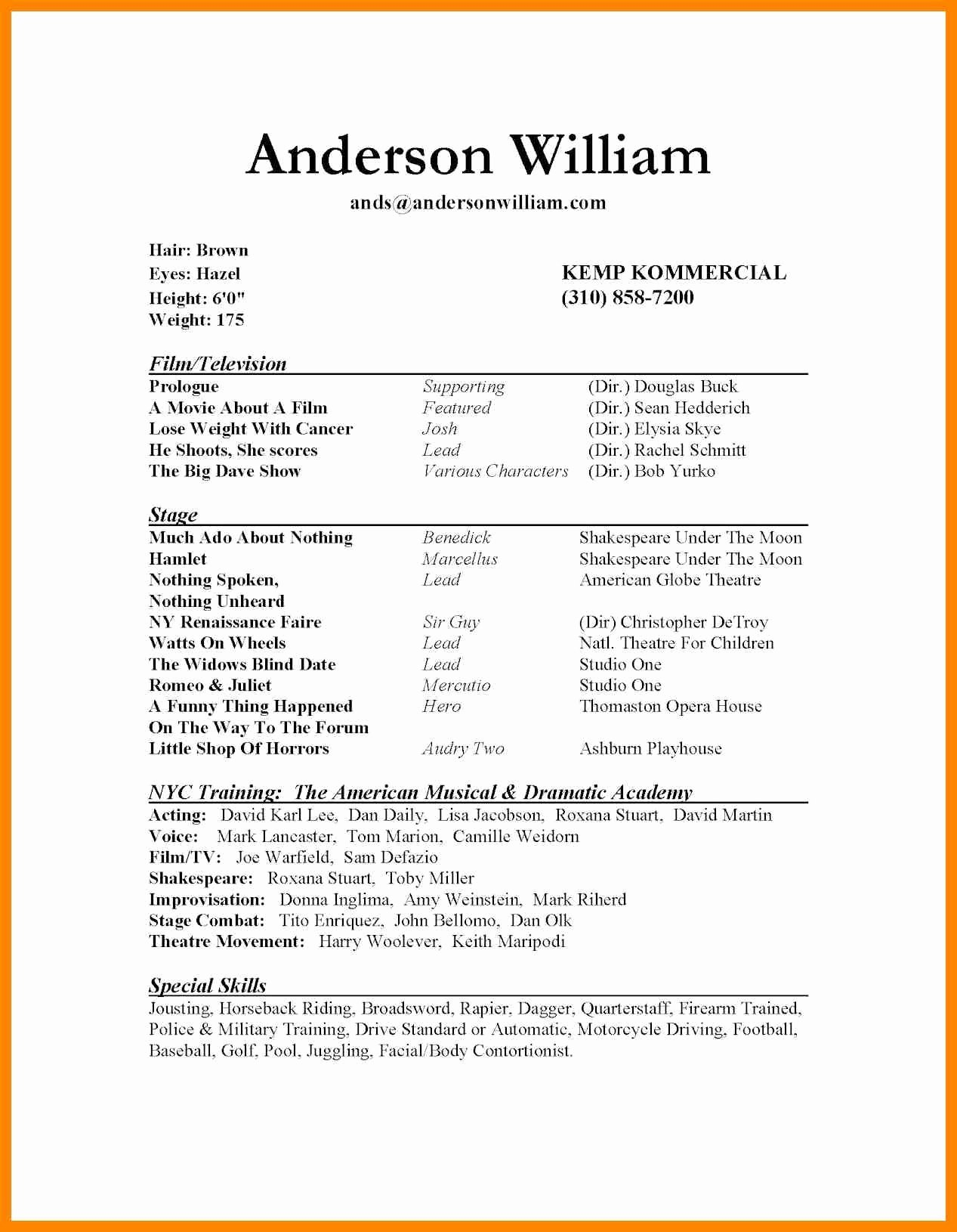 Technical theatre Resume Template Lovely 10 11 Technical theatre Resumes