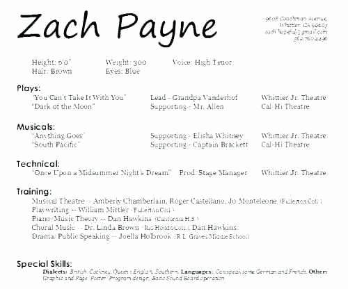 Technical theatre Resume Template New Musical theatre Resume Template Inspirational Acting