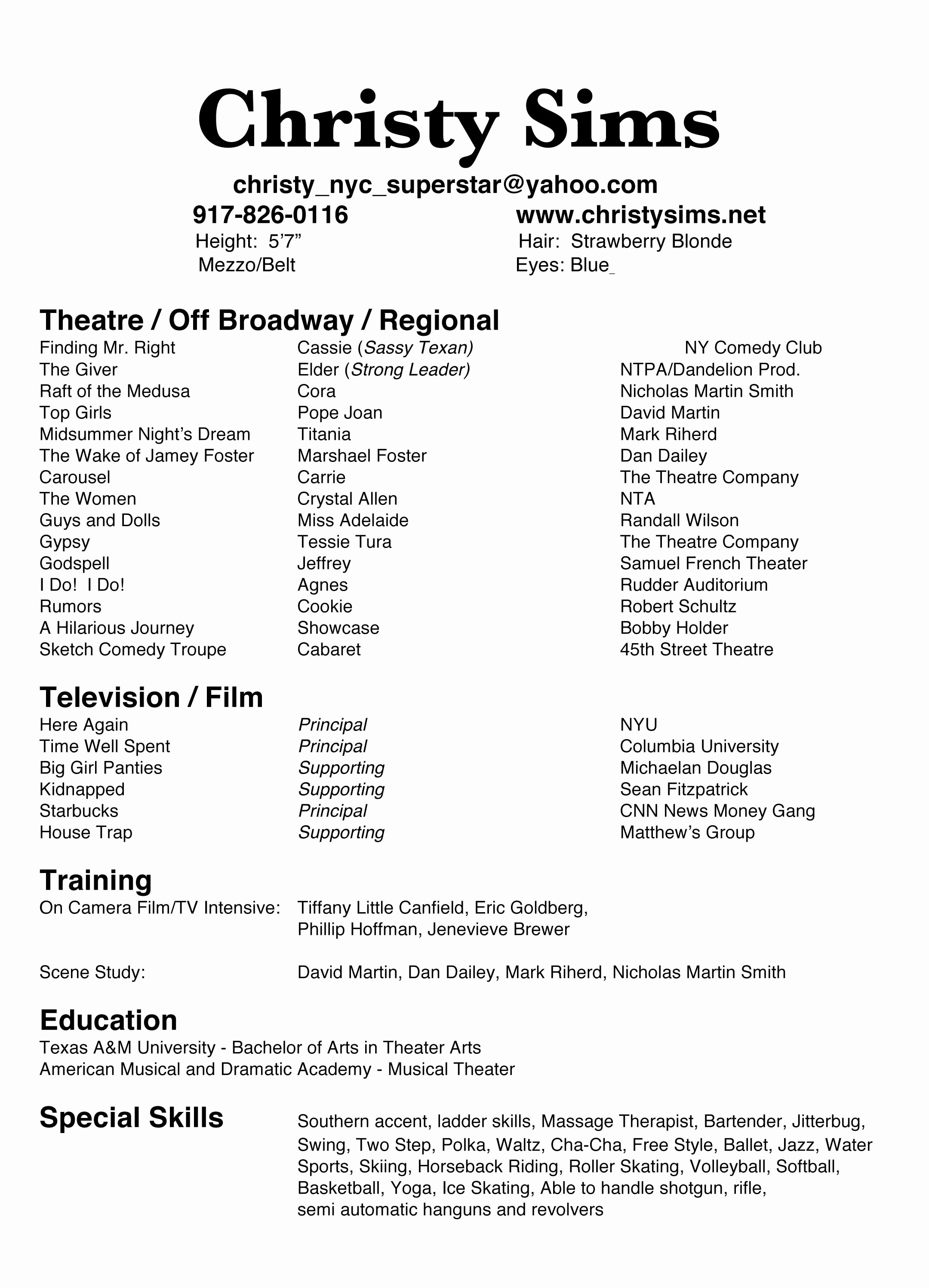 Technical theatre Resume Template New Technical theatre Resumes Technical theatre Resume the