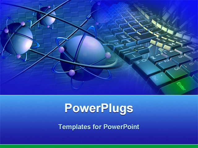 Technology Power Point Template Lovely Powerpoint Template Blue atoms with Purple Electrons and