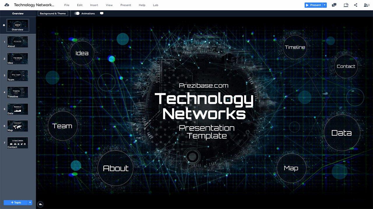 Technology Power Point Template New Technology Networks Presentation Prezi Template