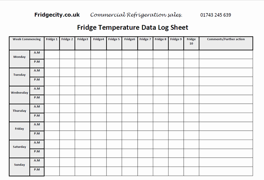 Temperature Log Sheet Template Inspirational Refrigeration Refrigeration Temperature Log Sheet