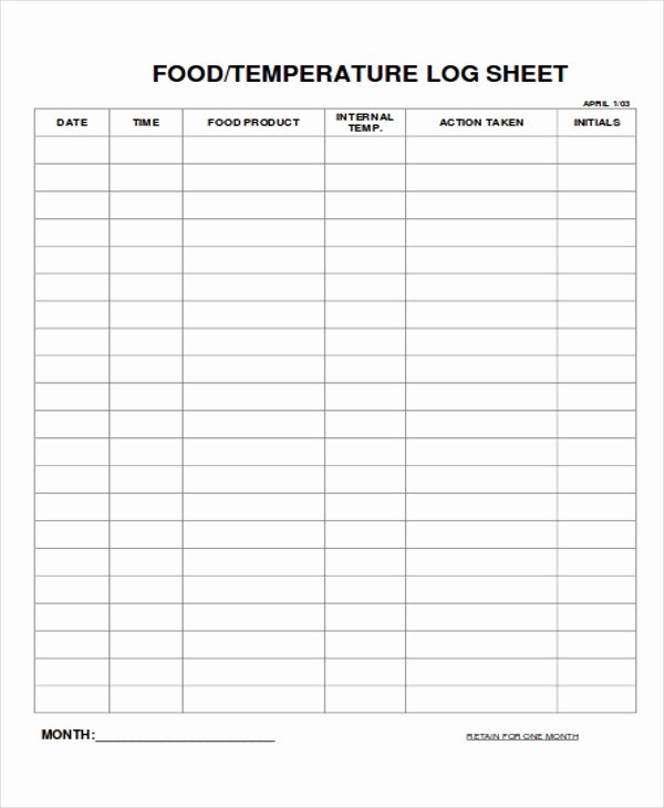Temperature Log Sheet Template Unique 9 Log Sheet Templates Free Sample Example format
