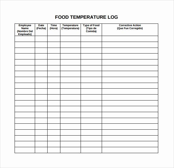 Temperature Log Template Excel Best Of 15 Sample Printable Food Log Templates to Download
