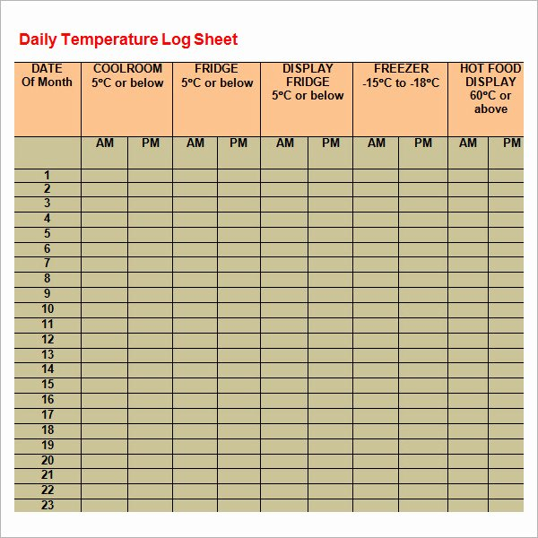 Temperature Log Template Excel Unique Log Sheet Template 9 Download Free Documents In Pdf