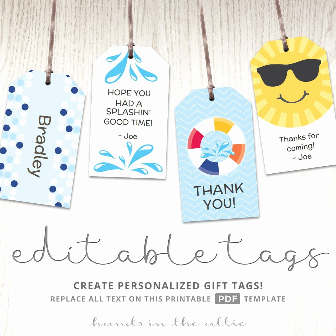 Template for Gift Tags Beautiful Editable T Tags T Tag Template Favor Tags Pool Party