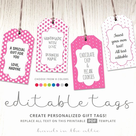 Template for Gift Tags Beautiful Editable T Tags T Tag Template Text Editable Polka