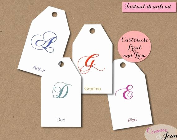 Template for Gift Tags Inspirational Items Similar to Gift Tags Diy Script Initial Tags