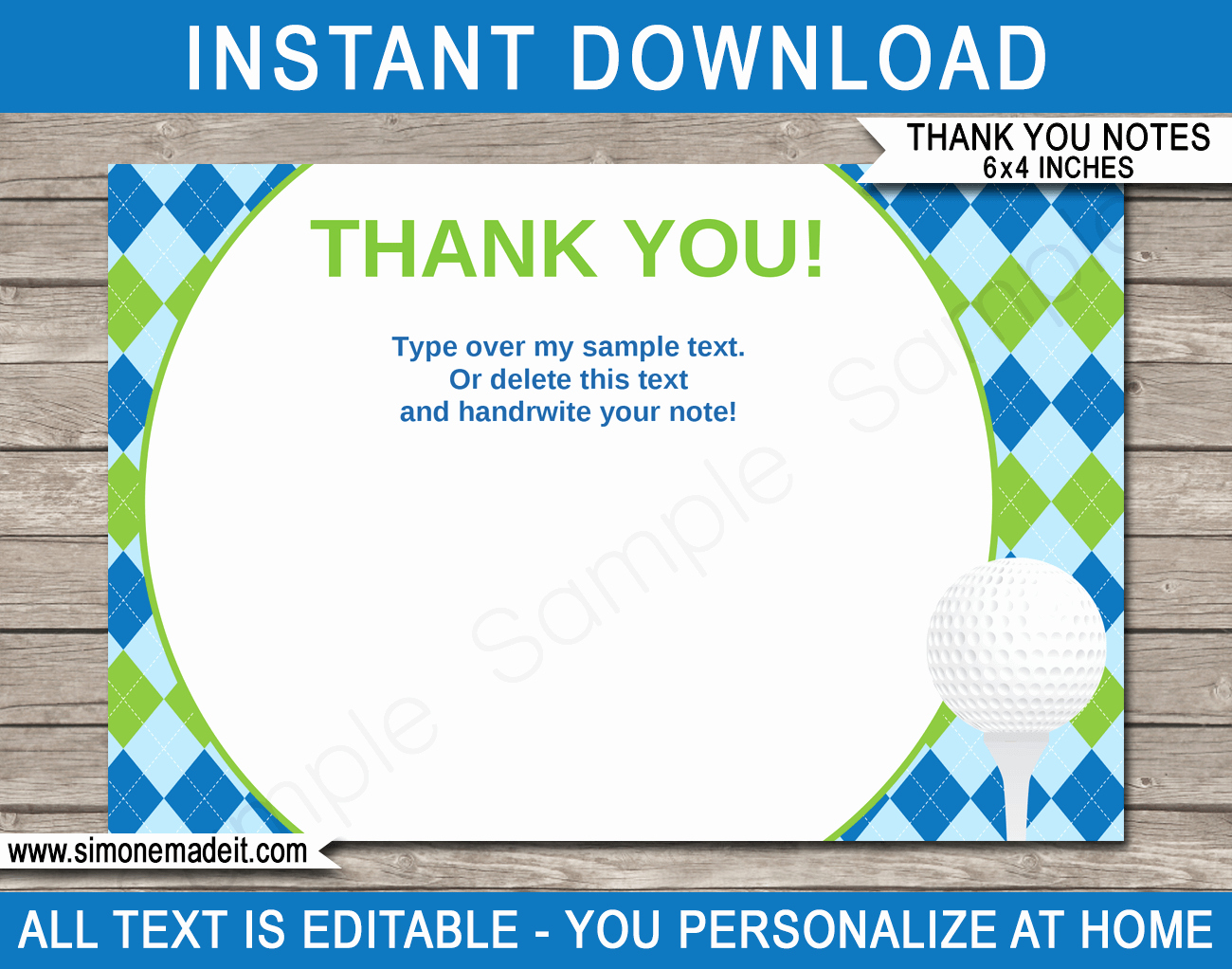 Template for Note Cards Best Of Printable Golf Party Thank You Note Cards
