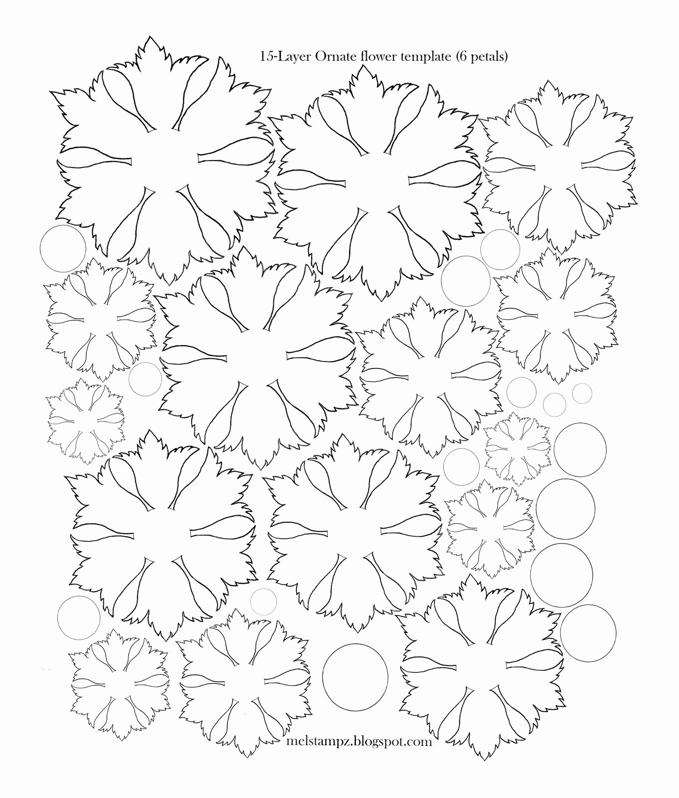 Template for Paper Flowers Awesome Mel Stampz 6 Petal ornate Flower Template