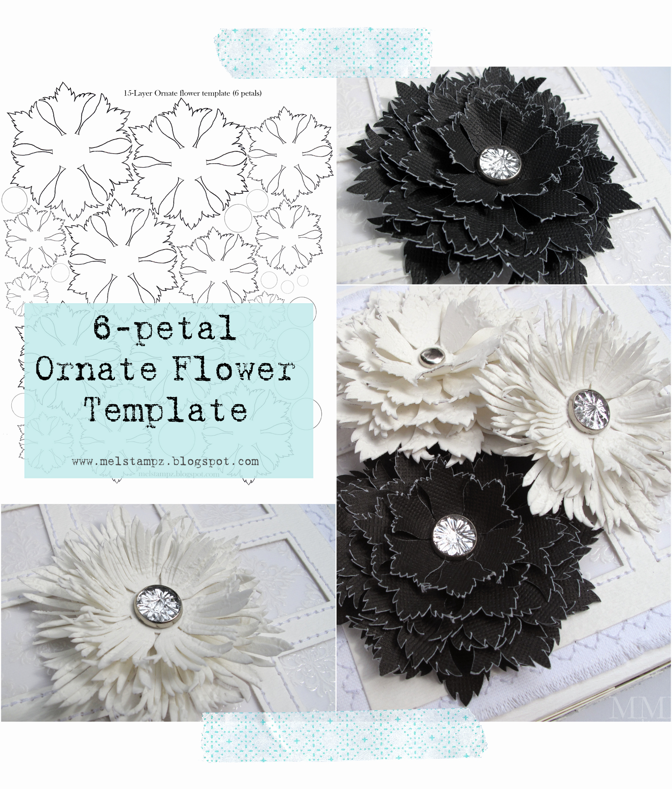 Template for Paper Flowers Beautiful Mel Stampz 6 Petal ornate Flower Template