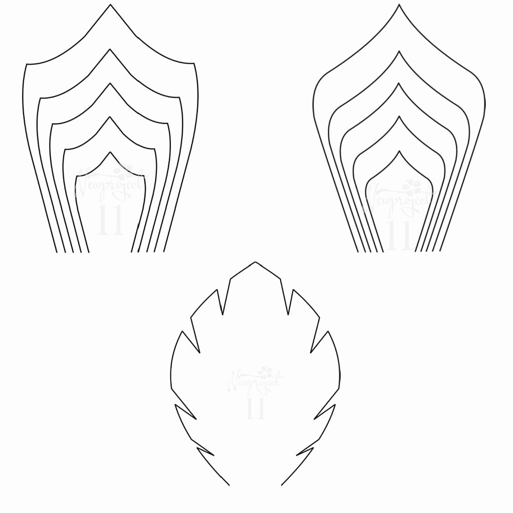 pdf set of 2 flower templates and 1 leaf