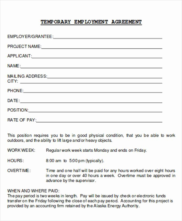 Temporary Employment Contract Template Beautiful 8 Employment Agreement Samples